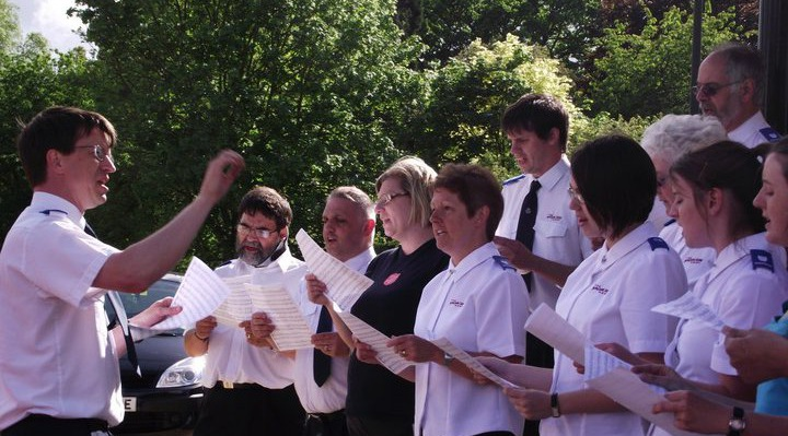 Gloucester Salvation Army Songsters singing in Gloucester Park at a Family Fun event